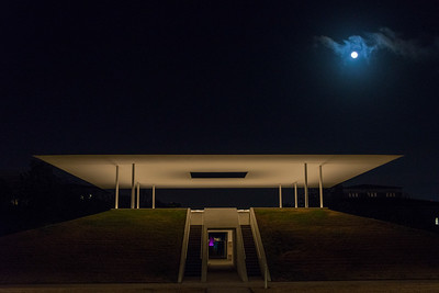 Moonrise over Turrell Skyspace, Rice University