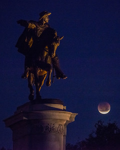 Lunar eclipse, Sam Houston statue, Hermann Park