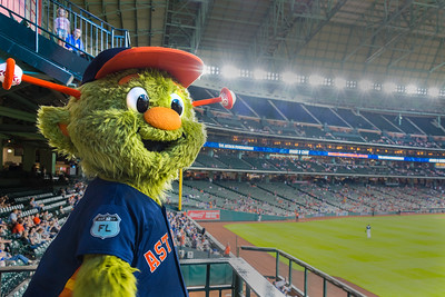 """Orbit,"" mascot of the Houston Astros, at Minute Maid Park"