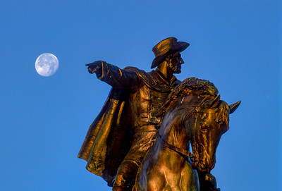Sam Houston statue, Hermann Park, pointing to moon and San Jacinto