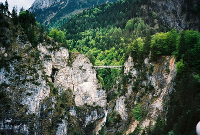 Marienbrucke (Mary's Bridge) perched dramatically over the Pollat Gorge.