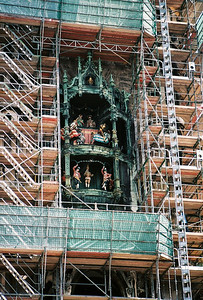 The tower of the New Town Hall houses the Glockenspiel, a beautiful carillon that is over 100 years old. The Glockenspiel chimes and has 32 life-sized figures that reenact historical Bavarian events.  It was under renovation during our visit.