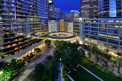 Houston illuminated at night.