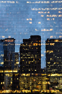 Building reflection in windows, Houston, Texas