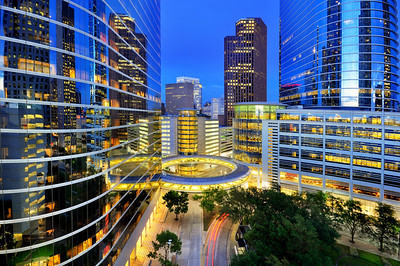 Modern offices of Houston at night