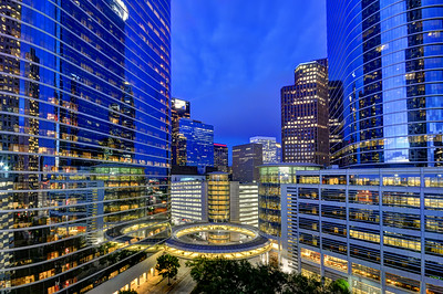 Wide Angle view of Houston Skyscrapers, Texas