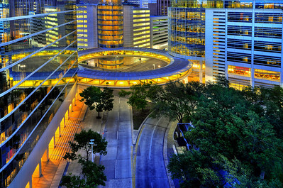 Modern circular architecture, Downtown Houston