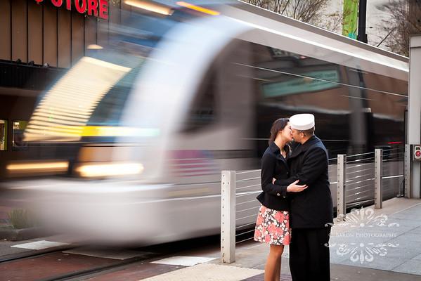 Houston-Engagement-Downtown-Light-Rail-Sailor-C-Baron-Photo-001