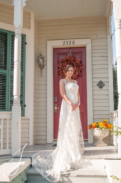 outdoor bridal photo in vintage home