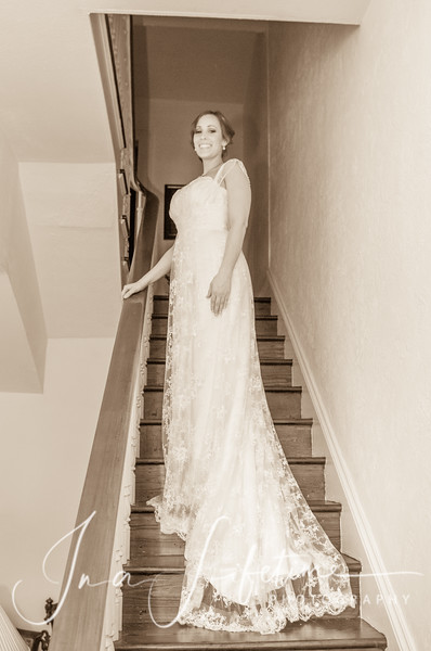 sepia toned photo of a bride in wedding gown