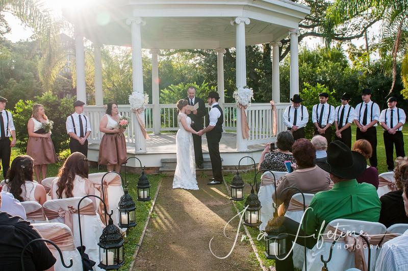 outdoor wedding ceremony with gazebo