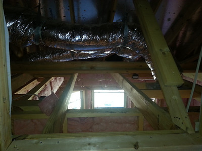 Crawl space above master. Looks like there will be an access door in the Grandparents room.