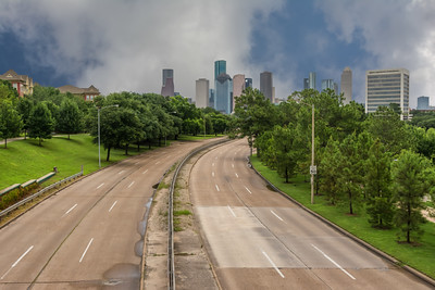 Stormy Houston skyline from Memorial Drive.