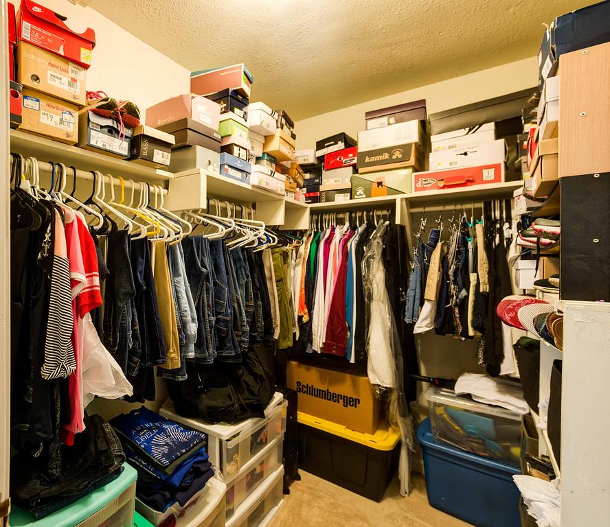 Walk-in master closet.