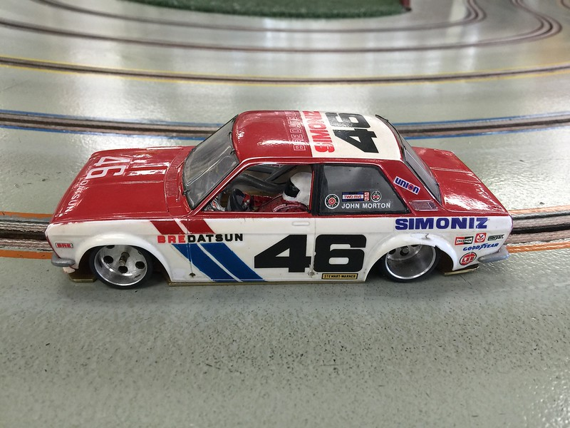 "Hector ""Gonzo"" Gonzalez' 1/25 BRE Datsun 510 Under 2.5 Liter Trans Am car. Gonzo's new BRE Datsun is similar to his previous 1/24 BRE Datsun except this new car is an ""inline"" compared to his older 1/24 Anglewinder BRE Datsun. Gonzo raced his new inline BRE Datsun today to see if it handles better than a standard inline car. After the race, he proved his new inline definitely handles significantly better than a standard inline car."
