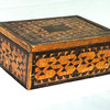 """Wayne Tucker's Box<br /> This is the box Dad made using little pieces. After I got going on my Wood Mosaics, he would say, """"My Grand Father made a couple little tables for casket stands, I made a little box using little pieces and Robin came along and ran it into the ground."""""""