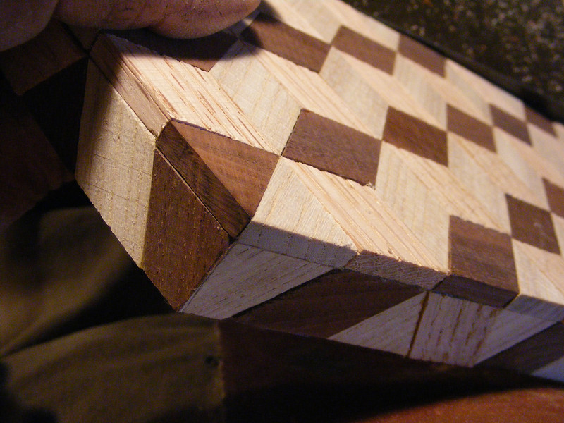21 - Making a Tumbling Block Cribbage Board <br /> They should make the corner look like this.