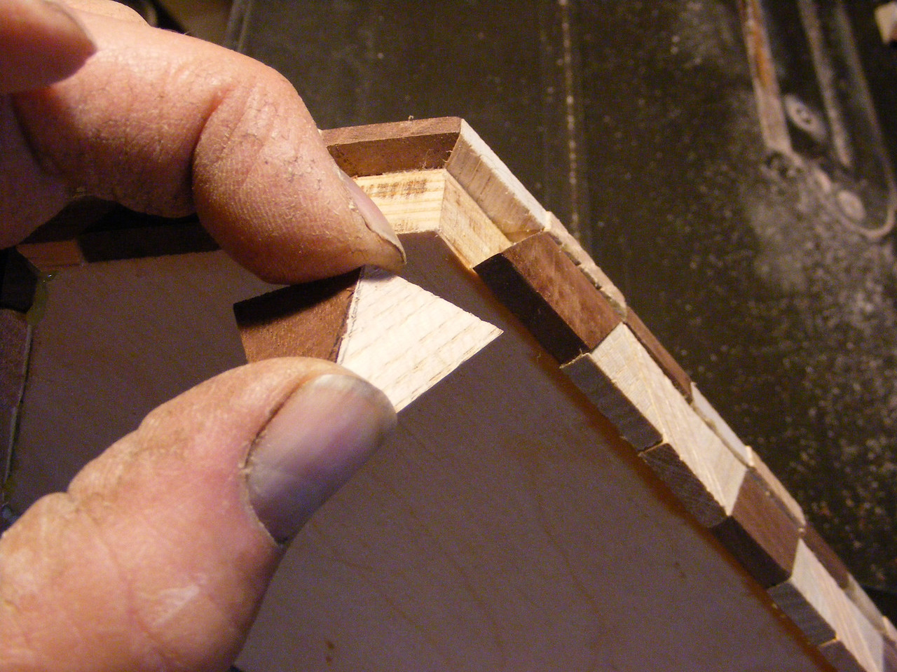 19 - Making a Tumbling Block Cribbage Board <br /> The cut pieces should fit together like this.