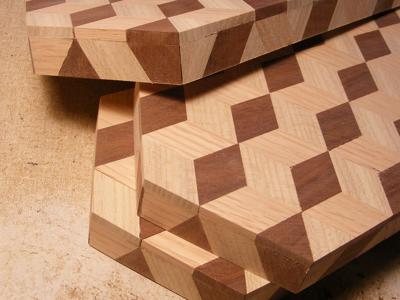 23 - Making a Tumbling Block Cribbage Board <br /> To get it to look like this. But there is one more step that I do.