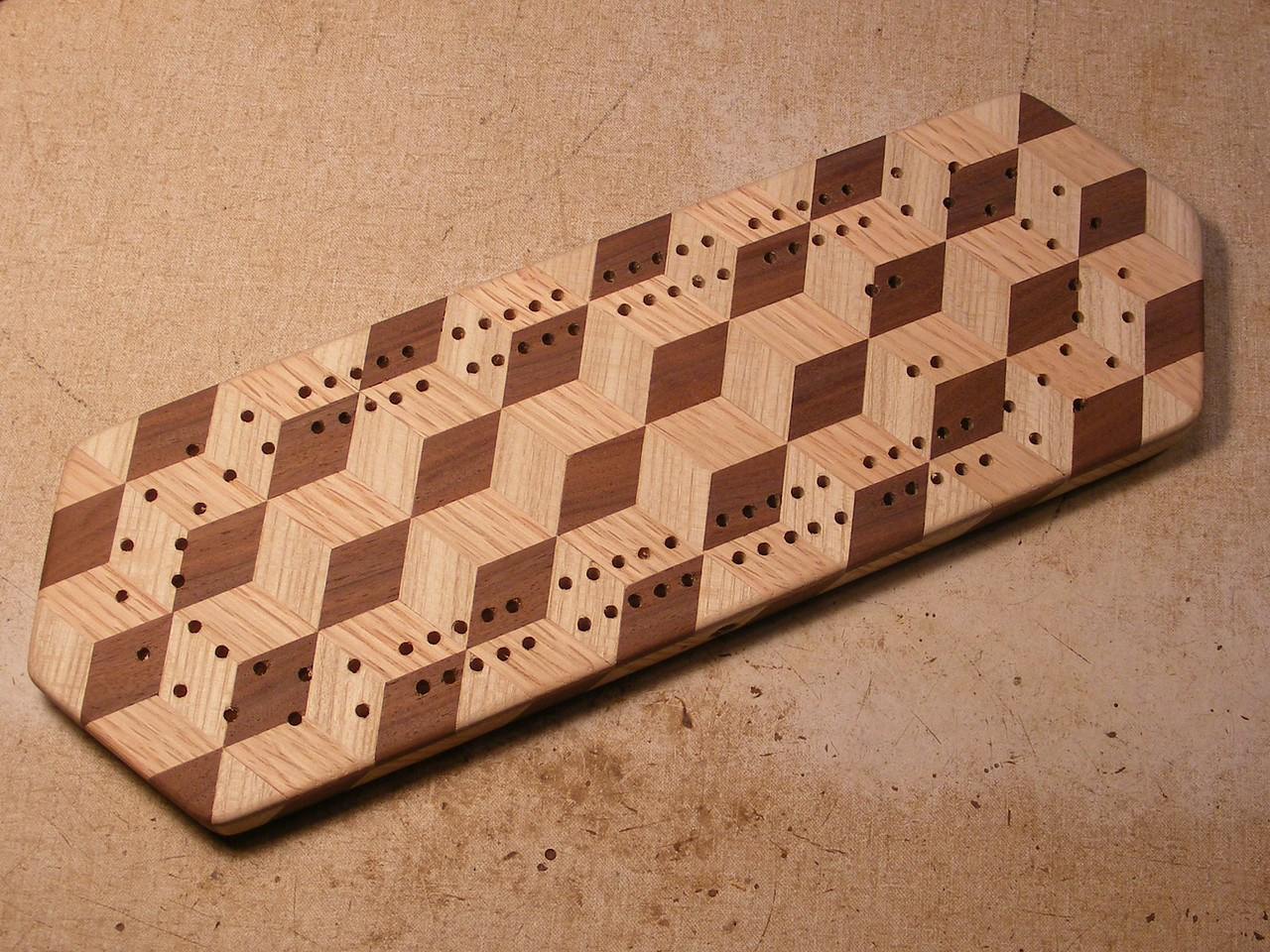 32 - Making a Tumbling Block Cribbage Board <br /> It is now ready to write on the bottom and start putting the finish on it.