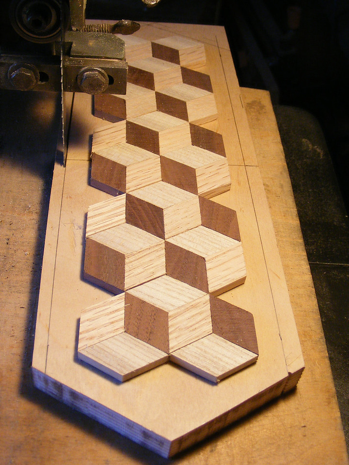 13 - Making a Tumbling Block Cribbage Board <br /> In cutting it, I cut on the outside of the line.