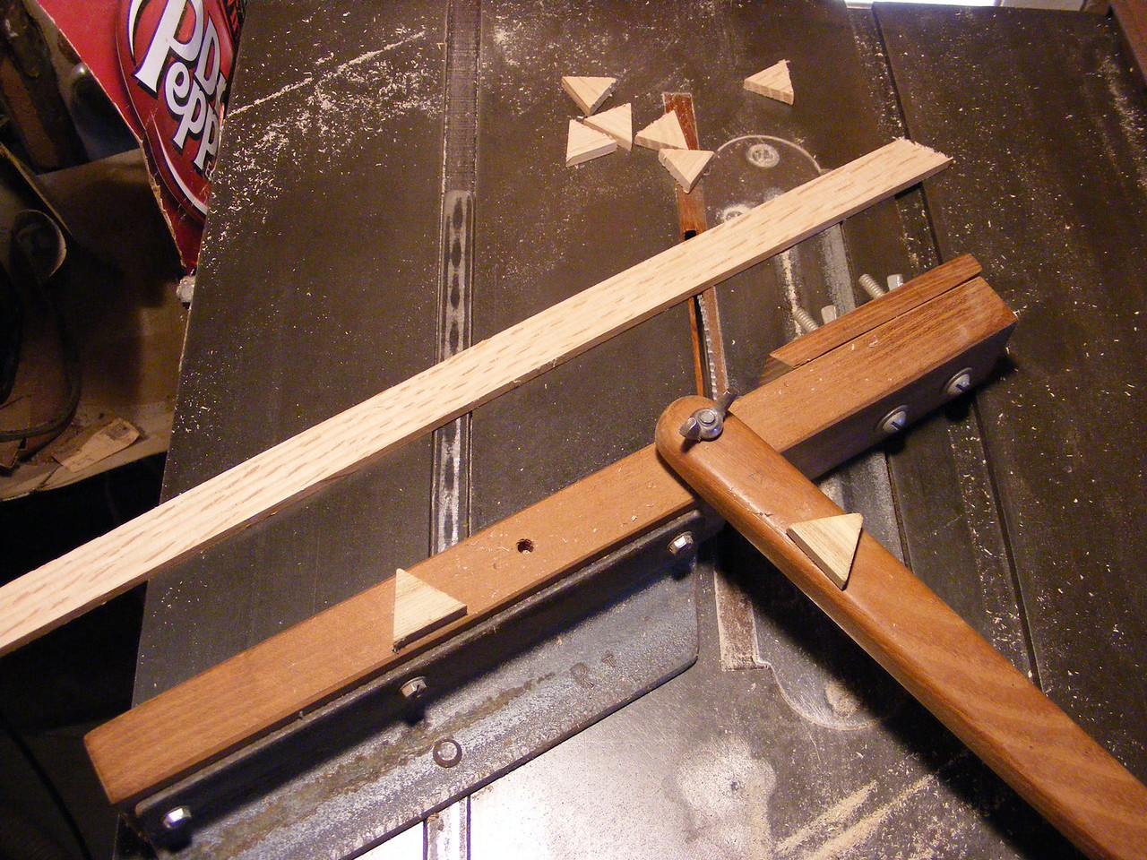 5 - Making a Tumbling Block Cribbage Board <br /> I use the jig for making the triangles and cut as many triangles, as I will be needing for the project that I will be making.