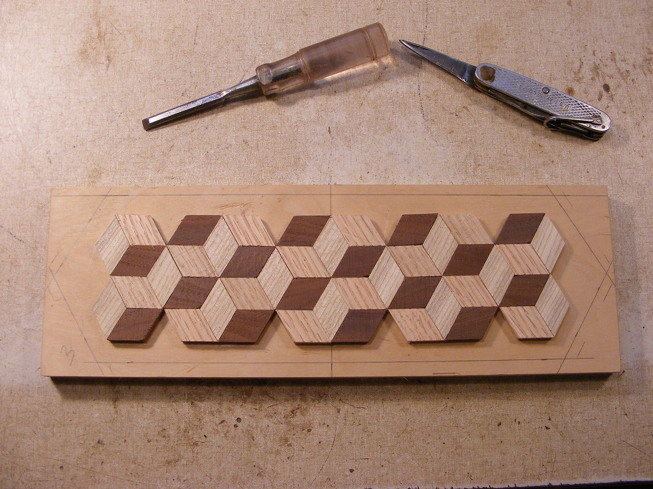 12 - Making a Tumbling Block Cribbage Board <br /> The blank will then be trimmed and marked as to how I will cut it to shape.