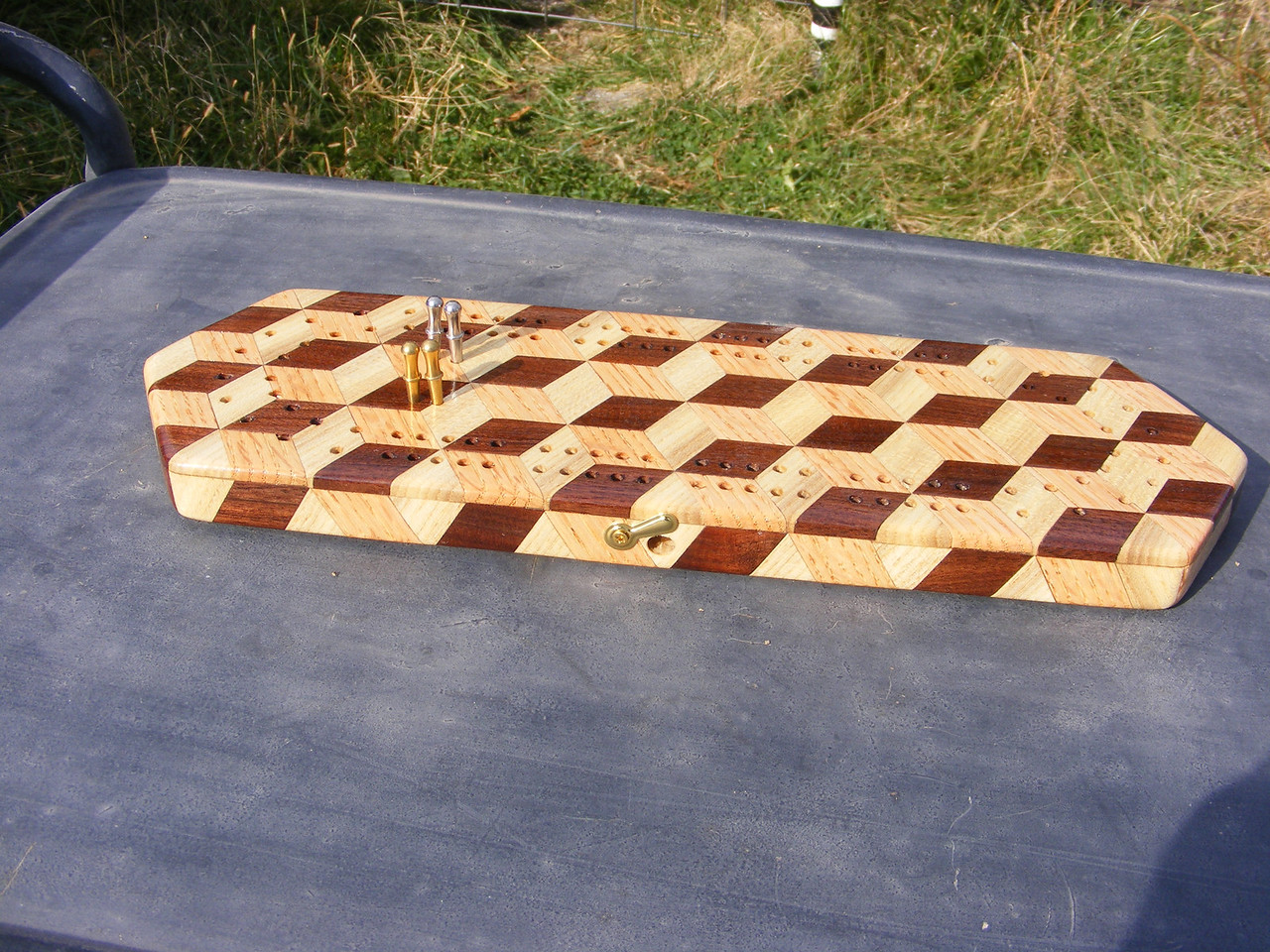 34 - Making a Tumbling Block Cribbage Board <br /> This is the finished cribbage board.