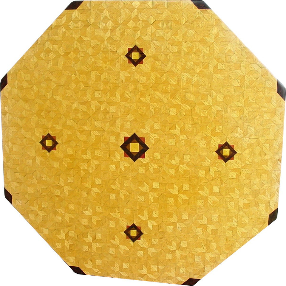 """7 Table Lg ASC Oak<br />   I call this my """"Large Oak ASC"""" table. The pattern on this table is the """"Aunt Sukeys Choice"""" quilt pattern. It is the same pattern that is on the """"Oak Square Box"""". As you can see on the square box, 2 diamonds are on each corner. They form a star, when 4 of the patterns come together, as shows in the """"Close-up"""". Out from the center I have 4 half size patterns that are the same size that is on my """"Oak Tiny Square Box"""", twice as many pieces as would normally be in that area. The table stands 30"""" tall and is 48"""" wide. There are over 6000 pieces on the entire table. The pieces are used over the edge and onto the pedestal and feet of the table. The table is finished in its natural color with 6 or 8 coats of varnish. After the varnish hardens for at least a month, I level it and buff it to a high shine. The pieces are a bit over 3/16"""" thick, glued onto a Baltic Birch base, so they hold up much better than a thin veneer.<br />      The type of wood is listed on the bottom of the table from the center out. On this table the wood is """"Satinwood"""" from South America, """"Walnut"""" from Missouri, """"Wenge"""" from West Africa, """"Purpleheart"""" from Central or South America, and """"Oak"""" from Missouri."""