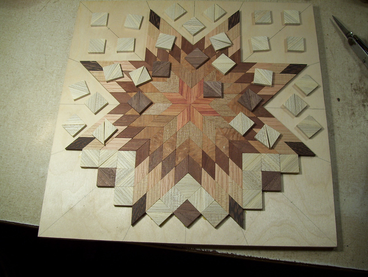 Making a Lazy Susan #21<br /> After getting the pieces ready I lay them out back to back ready to glue on and then after they are all laid out, glue them on out to this point and stop.