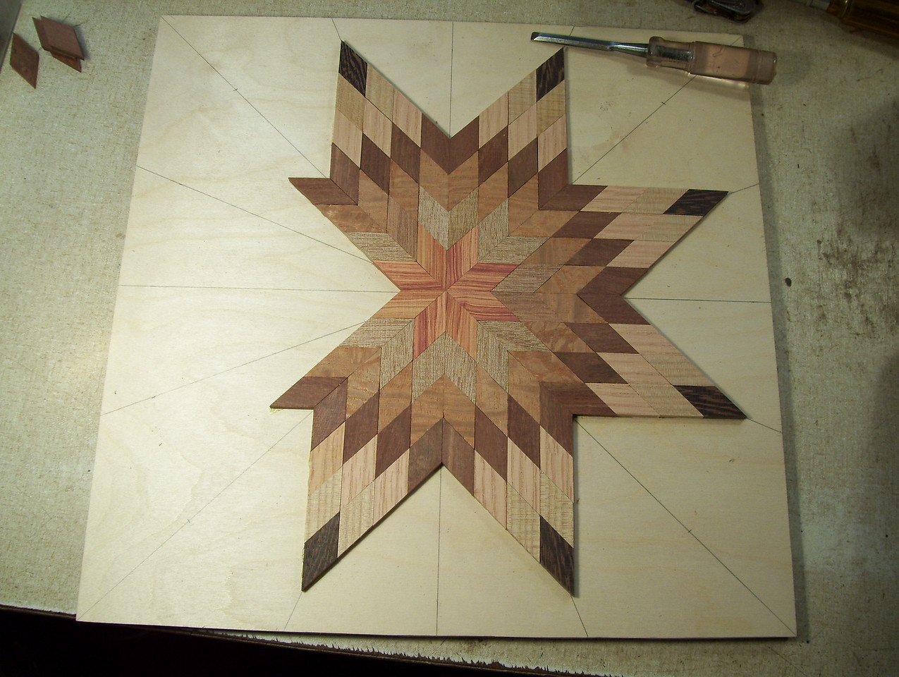 Making a Lazy Susan #13<br /> I continue this process one point at a time on around the star to the last two points.