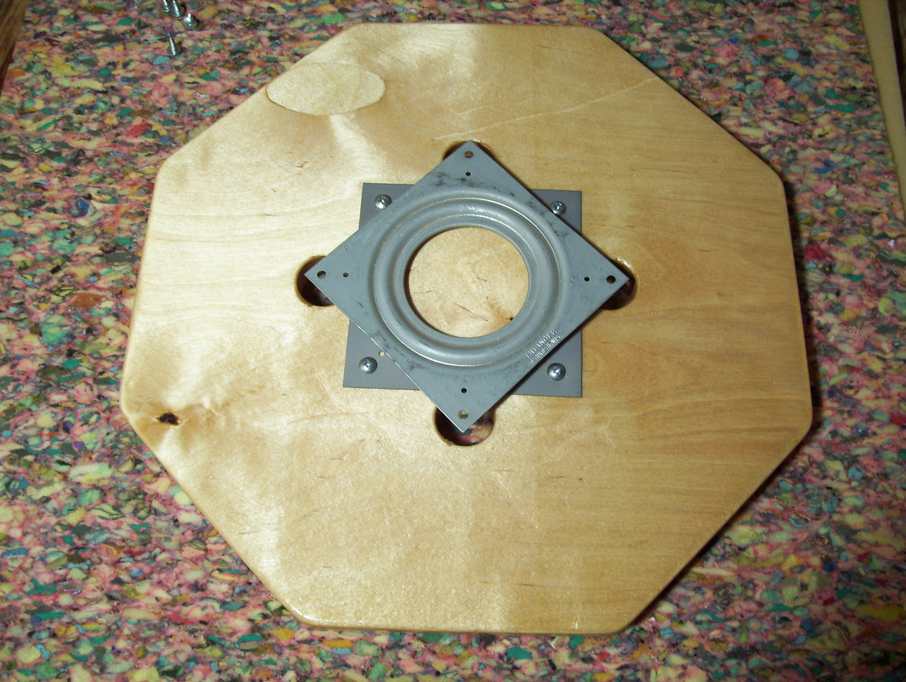 Making a Lazy Susan #58<br /> When the Lazy Susan has the finish on and is dried I screw the rubber bumpers on the bottom of the base and the lazy susan movement on to the top.