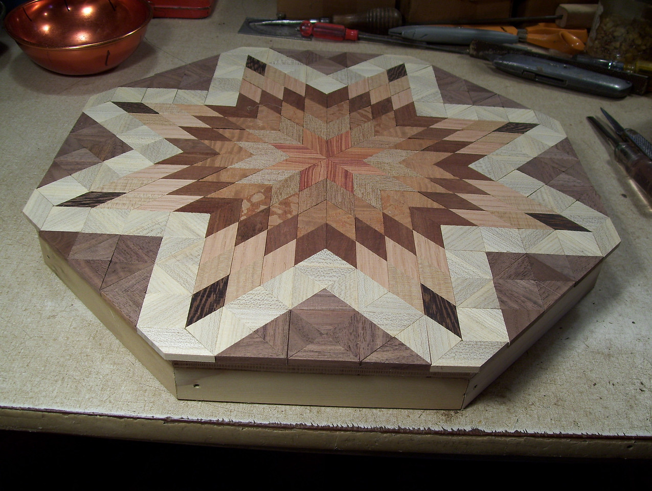 Making a Lazy Susan #36<br /> The top will look like this at this point.