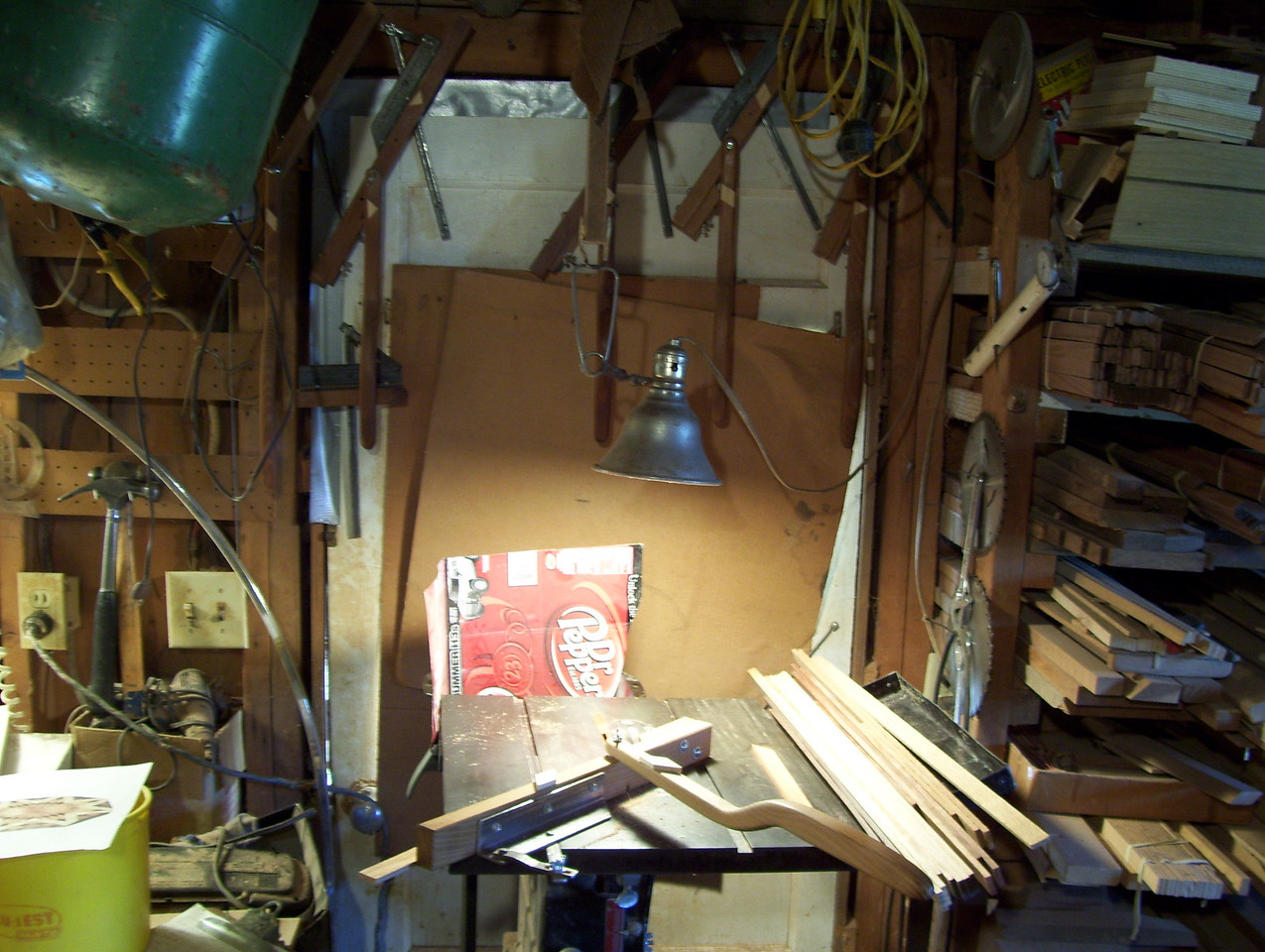 """Making a Lazy Susan #4<br /> This picture shows the jig I made to make the large diamond .734 across each way. I cut them from a strip of wood .200"""" thick; I ripped off the edge of a board then narrowed down to .734"""" wide. The diamonds have to all be uniform or it will through the whole design off, and multiply any error."""