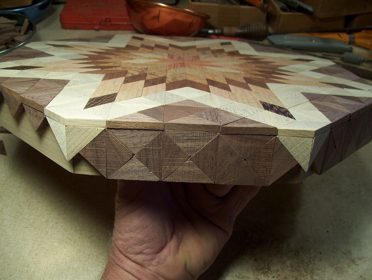 Making a Lazy Susan #44<br /> The next thing to do is to fill in to the bottom of the side pieces.