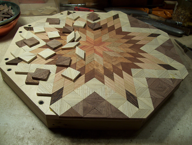 Making a Lazy Susan #34<br /> I then finish gluing the pieces on to the top to bring the design on out over the edge.