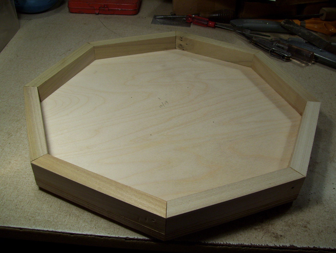 Making a Lazy Susan #32<br /> The bottom of the lazy susan then looks like this.