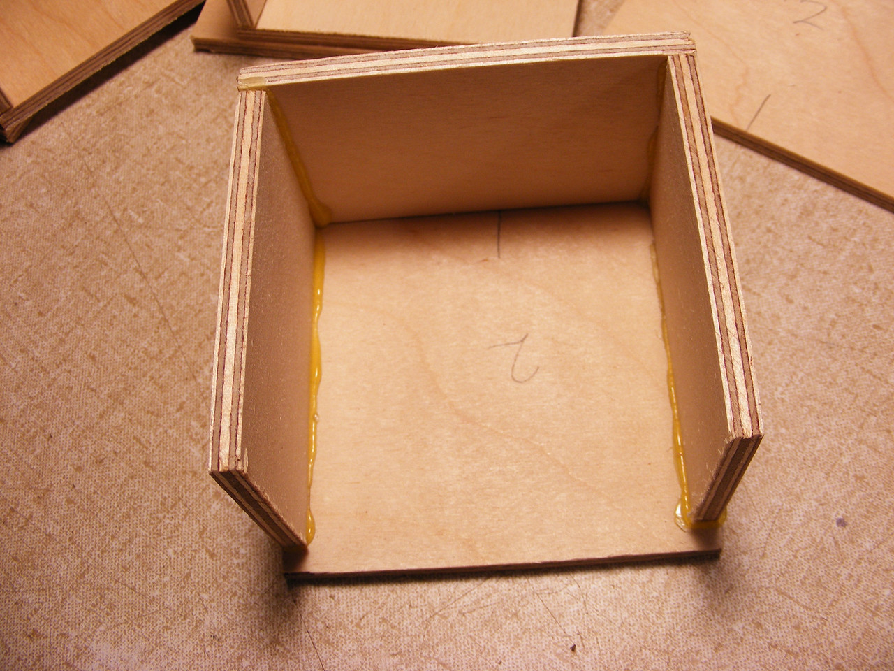 #5 Making a Tiny Sq Box <br />  I always shave off the glue that squeezes out as I put the sides on.