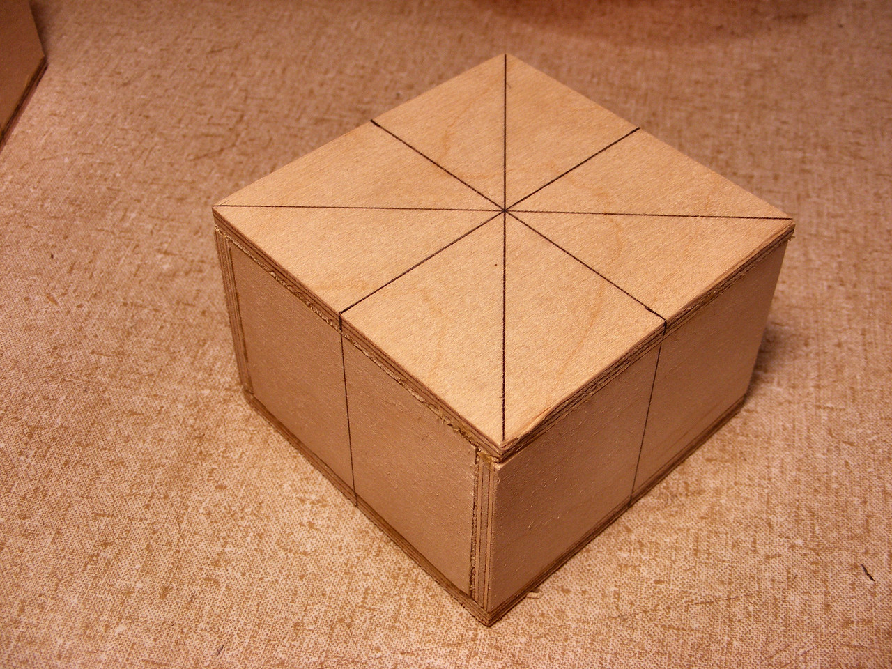 #7 Making a Tiny Sq Box <br />  After I get the base together I draw some guide lines on the top and down the sides.