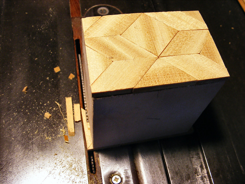 #14 Making a Tiny Sq Box<br /> Then taking it to the saw, I will cut off the overhanging pieces even with the edge.