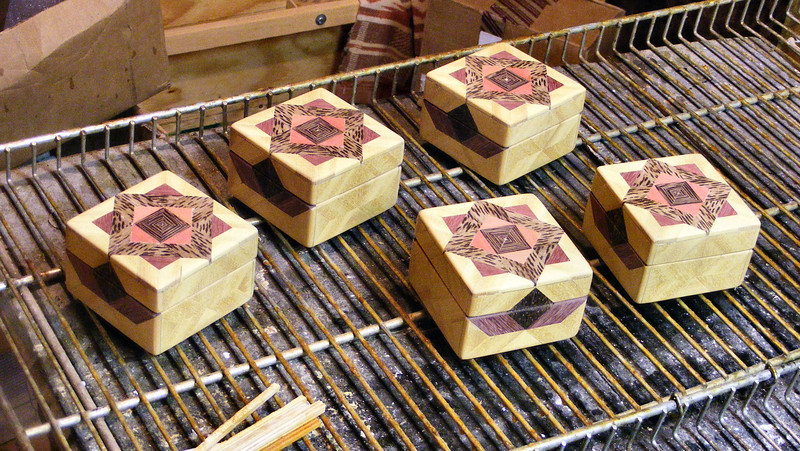 #42 Making a Tiny Sq Box<br /> I use varnish as my finish, I thin it about 20% and rub it in by hand. I will put a coat on each of these boxes and then go back to the first one and start rubbing it until it is kind of tacky, set it down and go to the next.