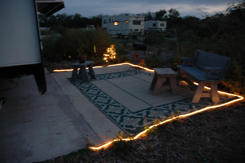 Elegant Rope Lights Around Patio And Edible Christmas Tree Lit Up