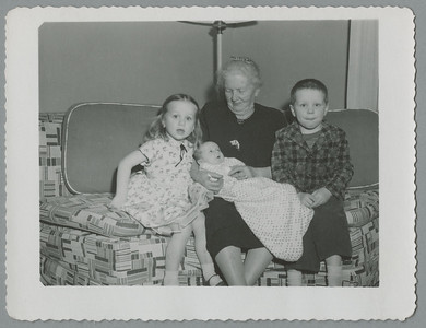 Mark Taif Howard b 1/12/1957 with Christy almost 3, grandmother Martha Taylor Howard 81 and Bill 4-1/2 (January 1957)