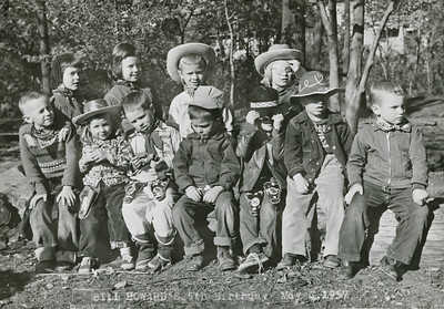 Bill Howard (with hat on right) 5th birthday party May 4, 1957