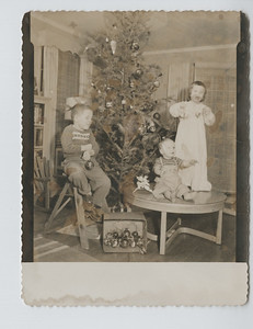 1957 Christmas card: Christy 3-1/2, Mark 11 months, Bill 5-1/2. (This picture reversed)