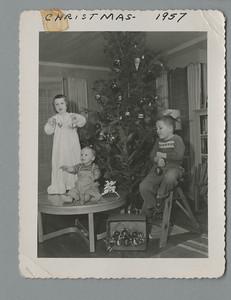 1957 Christmas card: Christy 3-1/2, Mark 11 months, Bill 5-1/2.