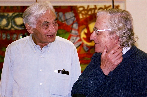 04.09.27 Howard Zinn and Noam Chomsky at Bunker Hill Community College in Boston