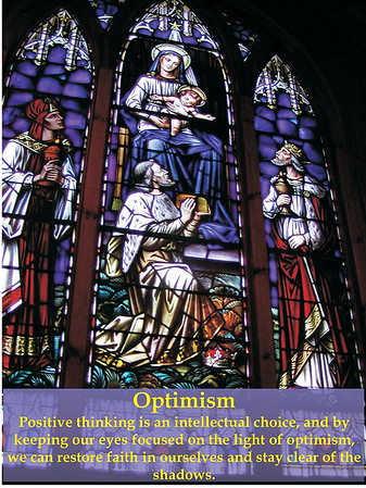 Optimism - I captured this beautiful stained glass artwork at a small church, hidden in the middle of the woods, while taking an early fall morning hike in Blowing Rock, NC. What better subject matter to symbolize hope and light!