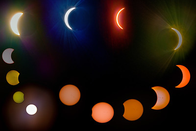 All phases of Solar Eclipse from start (bottom left), to 98% (top center), to finish (left center)