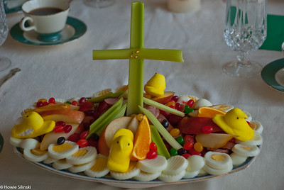 Easter breakfast - The tradition continues (eggs, kielbasa, celery, apples, pears, jellybeans, peeps)